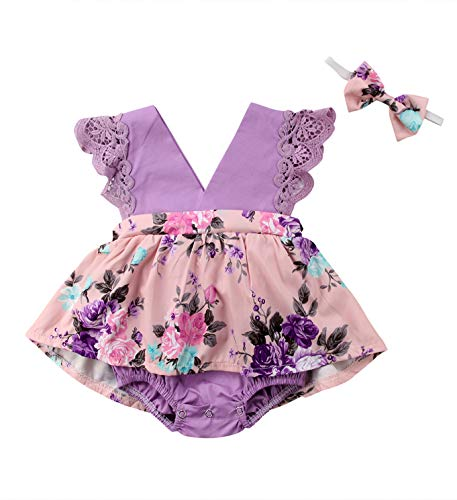 0-6 Years Big Sister Little Sister Ruffle Floral Jumpsuit Romper Dress Lace Outfits