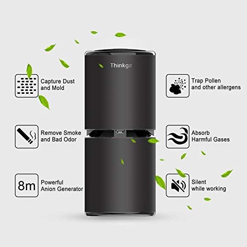 Thinkga Car Ionizer Air Purifier, Removes Dust, Cigarette Smoke, Bad Odors, Release Anion- Available for Automobile and Small Room (Black- Figo 2 (Updated Version))