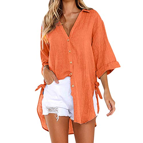 〓COOlCCI〓Women's V Neck Solid Roll up Sleeve Button Down Blouses Tops Long Sleeve High-Low Shirts Beach Cover up Orange]()