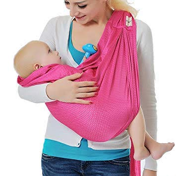 (Lightweight Baby Carrier, Beach Baby Carrier Wrap, Summer Water Baby Carriers, Baby Holder, Baby Sling, Newborn Carrier, Baby Wrap Carrier - Pink)