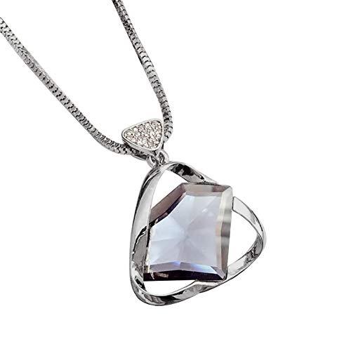 CqmzpdiC Women Fashion Daily Decoration Women Fashion Rhinestone Triangle Pendant Necklace Chain Jewelry Gift - Black