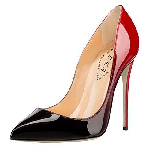 Gradient Da Verniciata Pelle black Sposa amp; Ladies 12cm Con Pumps Pizzo Print In Party red Eks Nero Abito Ff5Uwpqpx