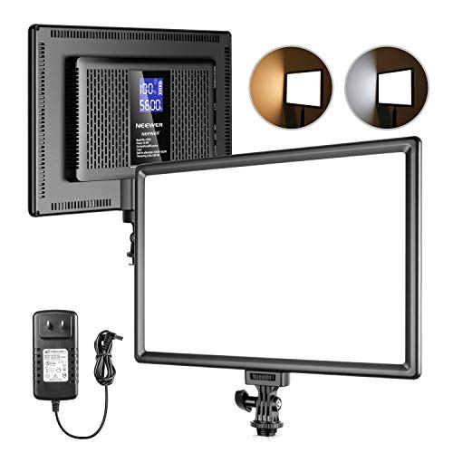 Neewer LED Video Light, Camera Camcorder Photo Light Panel with LCD Display Built-in Lithium Battery Dimmable 3200K-5600K CRI 95+ Ultra-Thin Soft Lighting for Portraits Shooting YouTube Video