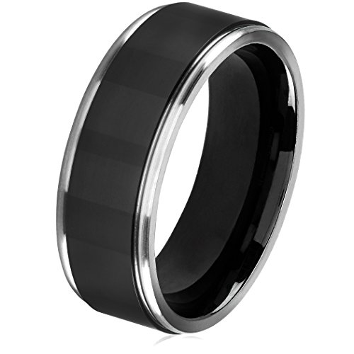 - West Coast Jewelry | Crucible Black Plated Titanium Grooved Comfort Fit Ring (8mm) - Size 9