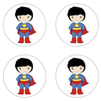 Superman Little Superhero Inspired Edible Cupcake Toppers Decoration ()