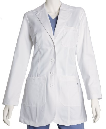 Lab Barco Coat - Grey's Anatomy 4425 Junior 3pkt Fitted Front White Lab Coat w/ Embroidered Heartline Detail (M)