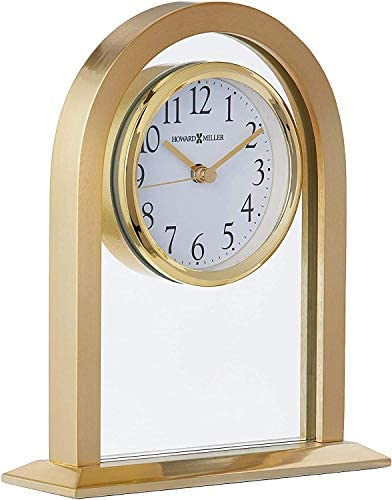 Howard Miller Imperial Table Clock 645-574 Brass Tone Metal Arch Floating Dial Home Decor with Quartz Movement