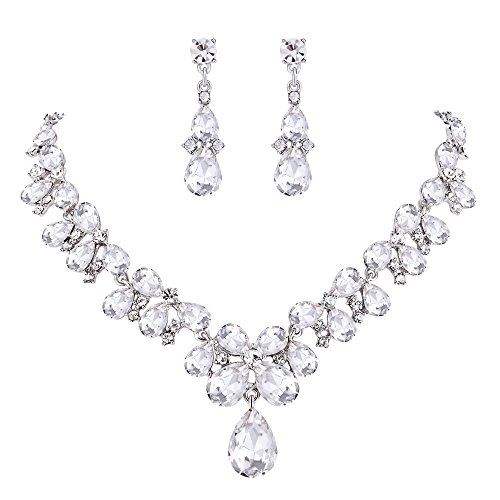 Crystal Cluster Drop Necklace - BriLove Women's Wedding Bridal Statement Necklace Dangle Earrings Jewelry Set with Crystal Teardrop Cluster Clear Silver-Tone