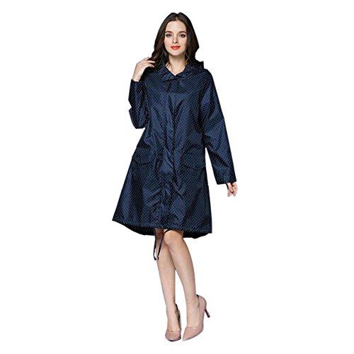 Meijunter Femmes Raincoat Impermable Portable De plein air Randonne Veste Anti-pluie Coupe-vent Fermeture clair Poids lger Poncho Encapuchonn Vtements de pluie Bleu Fonc