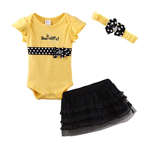 Mud Kingdom Cute Thanksgiving Baby Girl Outfits 9-12 Months Clothes Sets Bee-utiful 12M Yellow