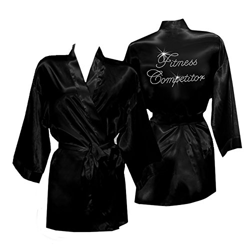 (Cotton Sisters Fitness Competitor Satin Robe Cover up (Black, S/M (2-10)))
