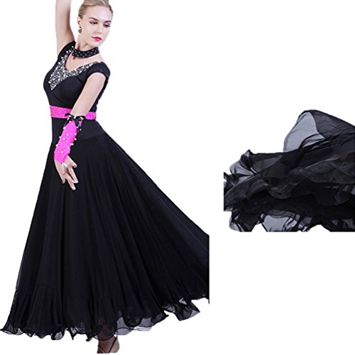 Maniche Abito Latino S Tango Senza Standard Black Da l Partito Le Per Swing Costumi Ballo Wqwlf Moderna Liscio Abiti Prestazioni Valzer Donne Flamenco q5Ow6F