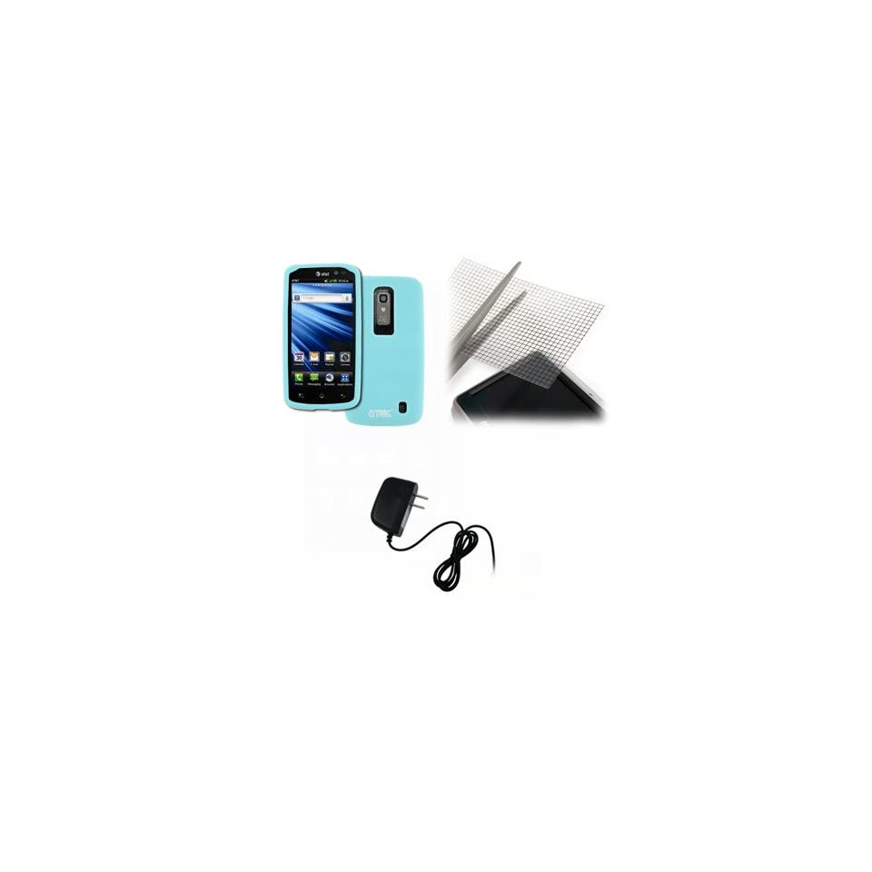 EMPIRE LG Nitro HD Light Blue Silicone Skin Case Cover + Universal Screen Protector + Home Wall Charger [EMPIRE Packaging]