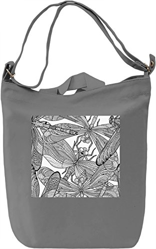 Dragonfly Print Borsa Giornaliera Canvas Canvas Day Bag| 100% Premium Cotton Canvas| DTG Printing|