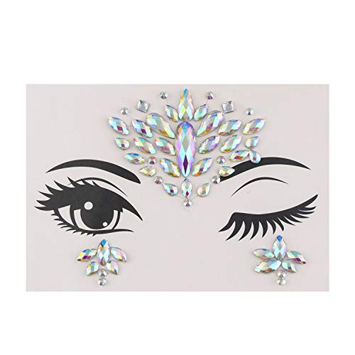Adhesive Face Gems Rhinestone Temporary Tattoo Jewels Festival Party Body Glitter Stickers Flash Temporary Tattoos Sticker,A2]()