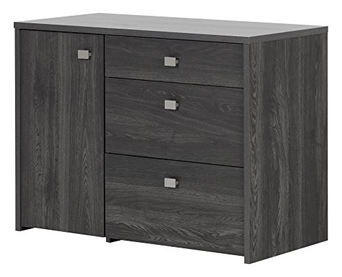 South Shore Interface Storage unit with File Drawer, Gray Oak (Armoire Hidden Office)