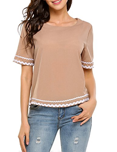 (FineFolk Women's Casual Tunic Top Slim Fitr Grid Printed Letter Print O Neck Short Sleeve Summer Shirt,Black White Line,Small)