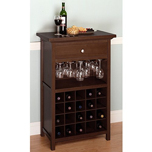 Wooden Wine Cabinet with 20 Bottle Capacity, Wine Rack, Glass Hangers, Storage Drawer, Practical Furniture, Transitional Style, Perfect for Dining Room, Restaurant, Walnut Finish + Expert Guide