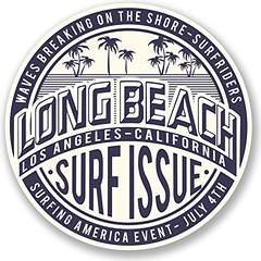 Beach Decal Sticker (Long Beach California Vinyl Decals Stickers (TWO PACK!!!)|Cars Trucks Vans Walls Laptops|Printed Color|2-4 in decals|KCD566)