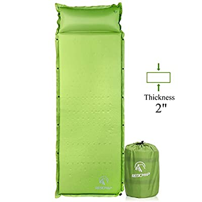 """REDCAMP Self-Inflating Sleeping Pad with Attached Pillow, Compact Lightweight Camping Air Mattress with Quick Flow Value, Blue 77""""x26""""x1.2-2"""""""