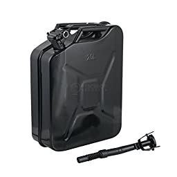 5 Gal (Gallon) - Black Jerry Can with Nozzle & Spout - Steel Metal Tank Gasoline Gas Fuel Petrol Emergency Backup Caddy Storage (20 Liters)
