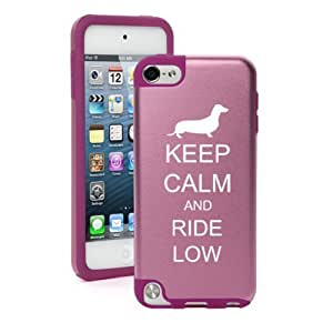 Apple iPod Touch 5th Generation Pink Aluminum & Silicone Hard Case Cover BP496 Keep Calm and Ride Low Dachshund (Pink)