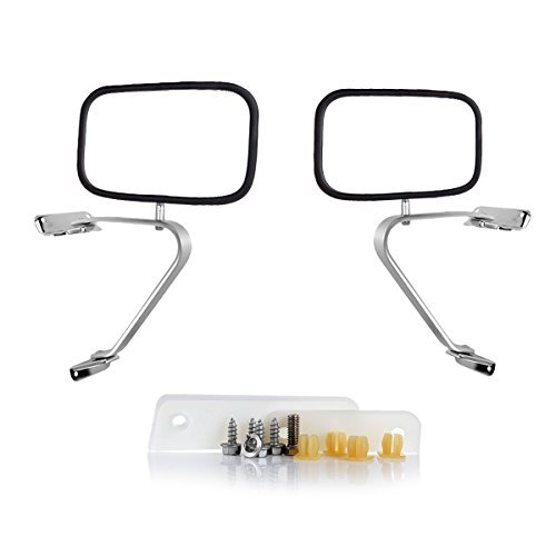 SCITOO Left/Driver Right/Passenger Manual Side View Mirrors Stainless Steel fit 80-96 Ford F150 F250 F350 Truck Pickup Pair Set