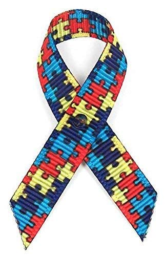 (125 USA Made Autism Fabric Awareness Ribbons - Bag of 125 Fabric Ribbons with Safety Pins (Many Colors)
