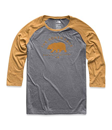 The North Face Women's Heritage ¾ Baseball Tri-Blend Tee, TNF Medium Grey Heather/Citrine Yellow Heather, Size M