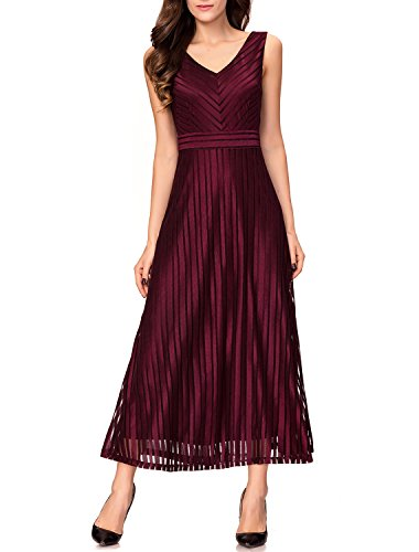 Noctflos Women V-Neck Elegant Striped Long Cocktail Wedding Evening Formal Dress