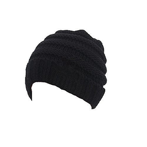 Aigemi Kids Baby Toddler Cable Ribbed Knit Children's Winter Hat Beanie Cap (Black)