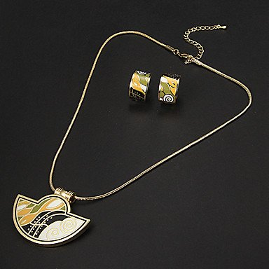 European Ingot Multicolor Irregular Pattern Gold Plated (Necklaces&Earrings) Jewelry Sets