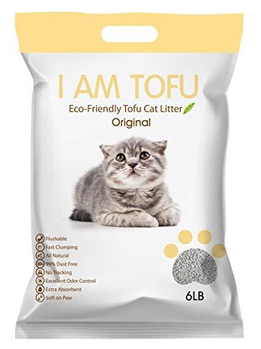 KAMYs ZOO I AM TOFU - Tofu Cat Litter, Natural Flushable Clumping Pellet Litter, No Scent, 6lb