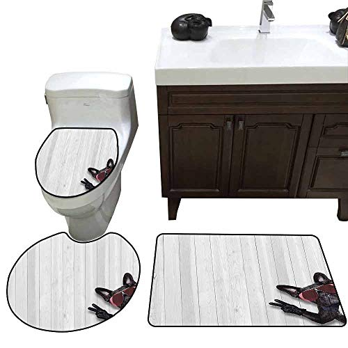 3 Piece Shower Mat Set Animal Decor Cool Husky Dog with Sunglasses Making Peace Sign with Paws Art Print 3 Piece Toilet Cover Set Light Grey ()