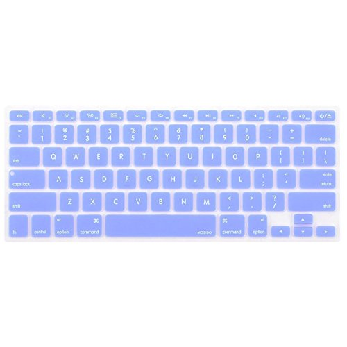 MOSISO Keyboard Cover Silicone Skin Compatible MacBook Pro 13 Inch, 15 Inch (with or Without Retina Display, 2015 or Older Version) MacBook Air 13 Inch, Serenity Blue
