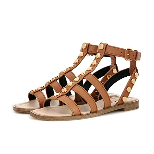 XYD Summer Stylish Studded Flats Open Toe Slingback Sandals Ankle Buckled Strap Shoes for Women Size 15 Chocolate by XYD