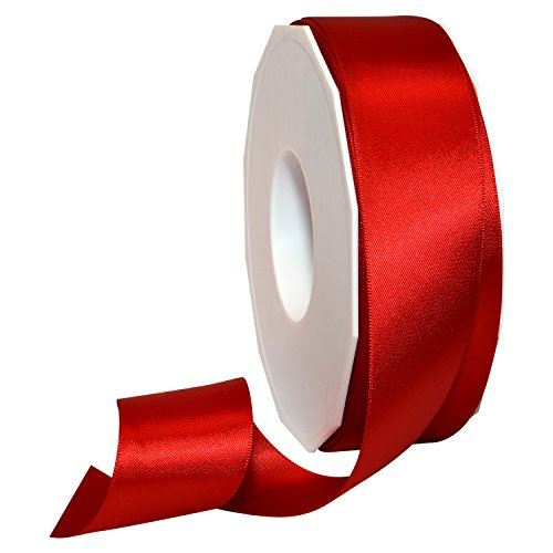 Morex Ribbon 08838/50-250 Double Face Satin Polyester Ribbon, 1 1/2-Inch by 50-Yard, Red