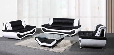 Marca Nueva Napoli sofás, 3 + 2 + 1 & Mesa de café, Negro ...
