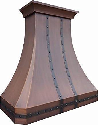 Sinda H30STRC - Capucha de cocina de cobre tradicional con capucha de gama profesional de cobre, diseño clásico, correas decorativas y remaches, hecha a mano: Amazon.es: Grandes electrodomésticos