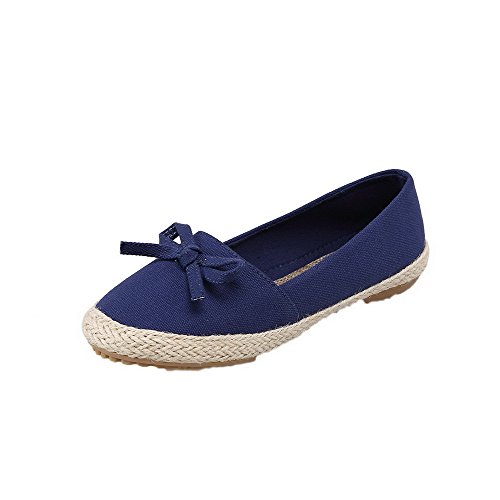 Odomolor Women's Fabric Round-Toe Low-Heels Pull-On Solid Pumps-Shoes, Blue, 39