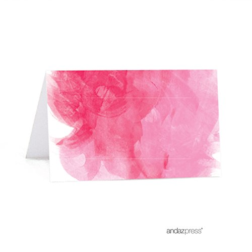 - Andaz Press Pink Watercolor Wedding Collection, Printable Table Tent Place Cards, 20-Pack