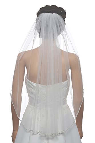 "1T 1 Tier Wavy Pearl Crystal Beaded Veil - Ivory Fingertip Length 36"" V507"