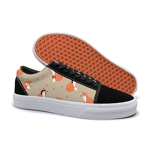 PDAQS Funny Fox Hand Drawn Brown Women Canvas Shoes Oldskoo Training Shoes Low Top