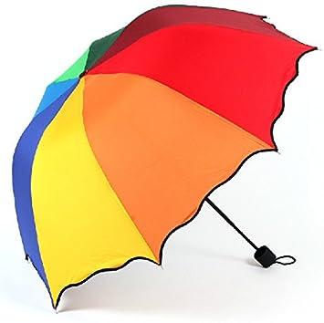 RF Paraguas plegable paraguas de los colores del arco iris 3 veces soleado en días lluviosos
