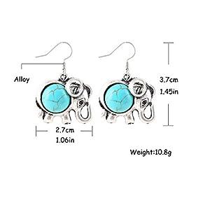 Lucky Elephant Animal Hook Earrings Charm Turquoise Drop Earrings Gift for mom Wife