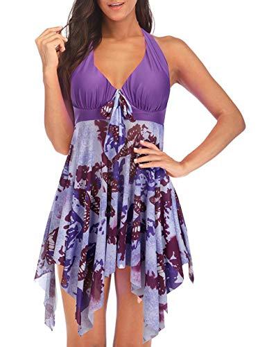 (DANALA Women's Two Piece Halter V Neck Swimsuit Printed Tankini Sets Split Skirt Swimwear Purple 5XL)