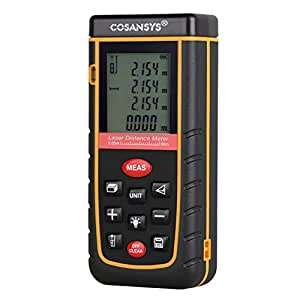 COSANSYS® Laser Distance Meter with Bubble Level Rangefinder Range Finder Tape measure 80m(262ft), Black&yellow