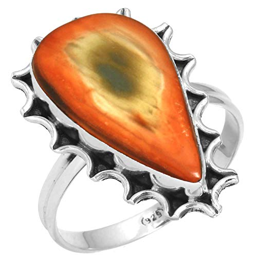Natural Royal Imperial Jasper (Mexico) Ring Solid 925 Sterling Silver Modern Jewelry Size 11.5