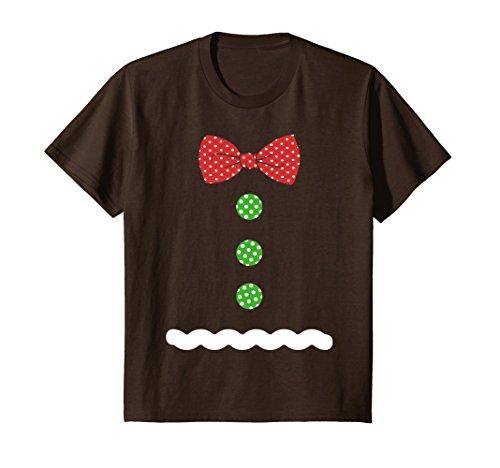 Kids Gingerbread Man Costume Suit Christmas T-Shirt v2 6 Brown