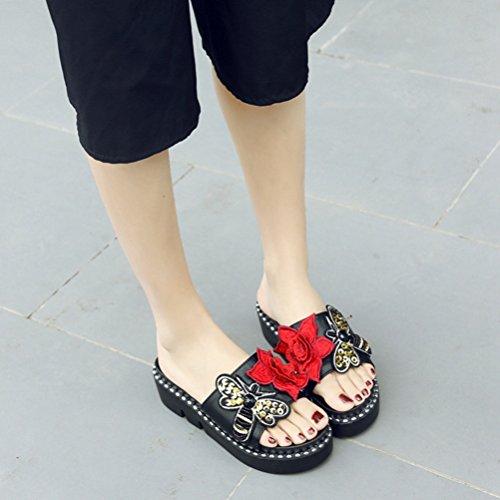 Confortable Diapositives Fond Open Plat Papillon Femme Noir Coin Design la Sandales de épais Mode Toe Fleur gXHtgxw
